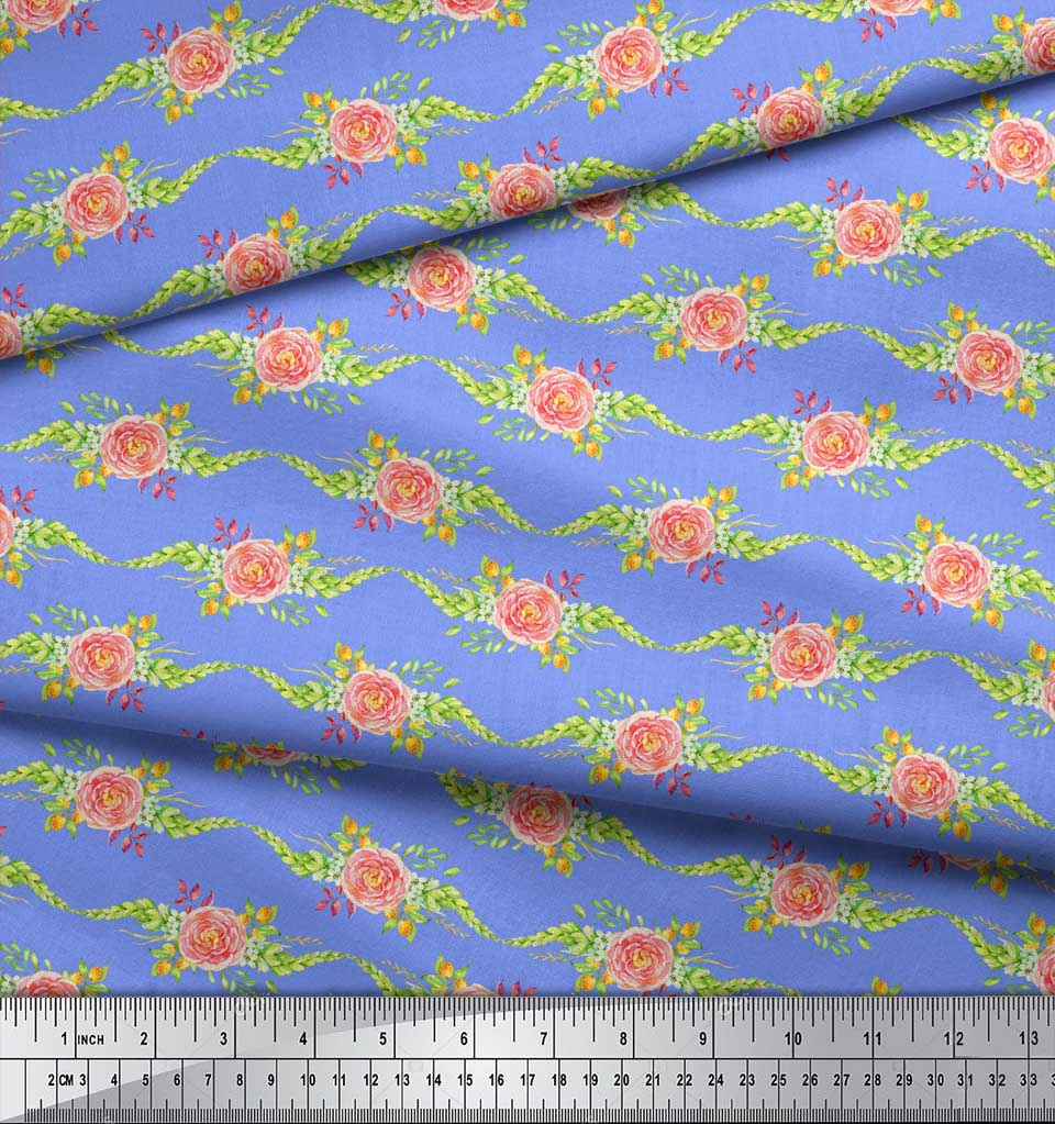 Soimoi-Blue-Cotton-Poplin-Fabric-Leaves-amp-Camellias-Floral-Print-Ckw thumbnail 3
