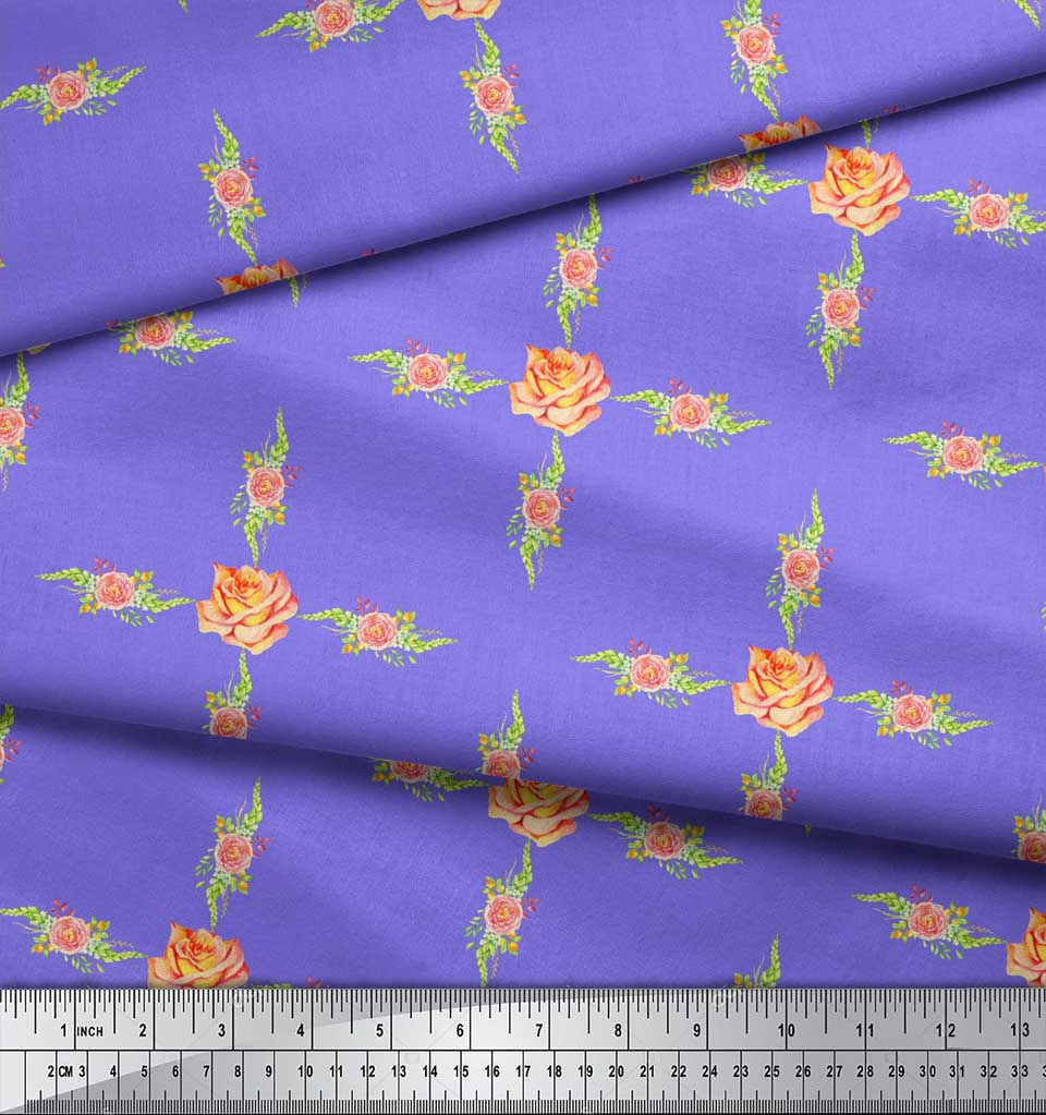 Soimoi-Purple-Cotton-Poplin-Fabric-Grandiflora-Rose-amp-Camellias-9BC thumbnail 3