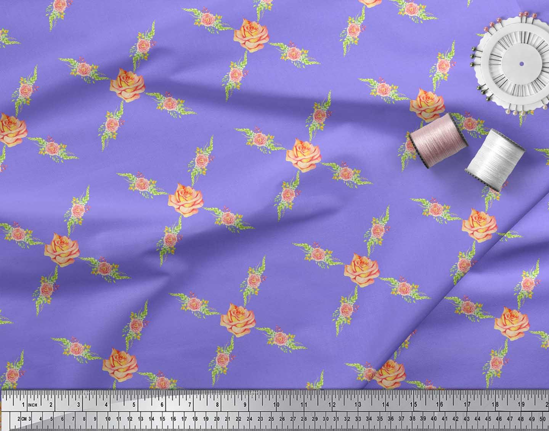 Soimoi-Purple-Cotton-Poplin-Fabric-Grandiflora-Rose-amp-Camellias-9BC thumbnail 4