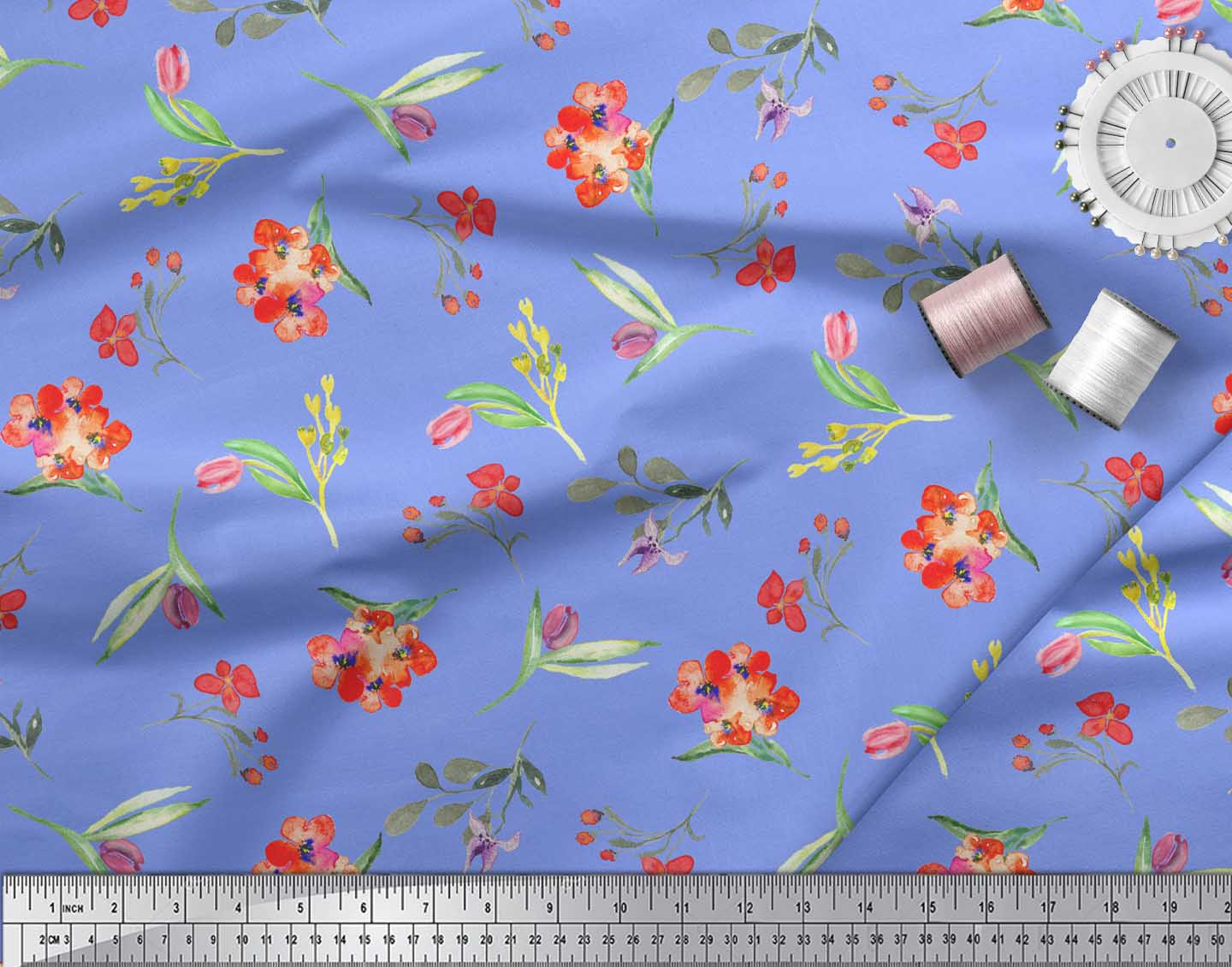 Soimoi-Blue-Cotton-Poplin-Fabric-Leaves-amp-Tulip-Floral-Printed-Craft-au0 thumbnail 3