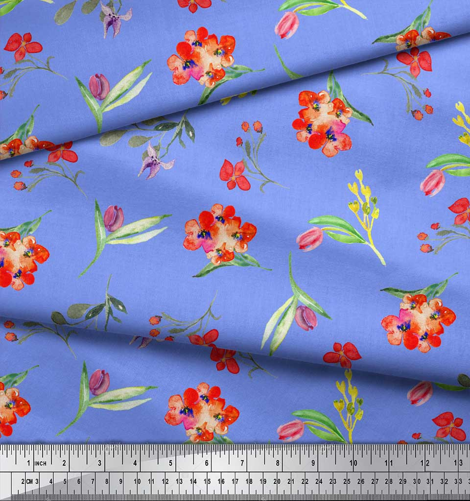 Soimoi-Blue-Cotton-Poplin-Fabric-Leaves-amp-Tulip-Floral-Printed-Craft-au0 thumbnail 4
