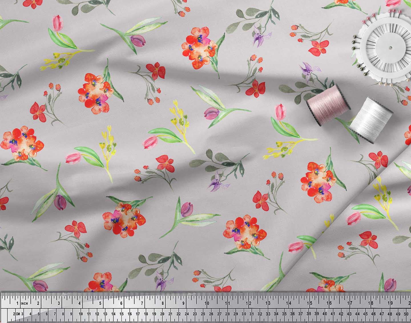 Soimoi-Gray-Cotton-Poplin-Fabric-Leaves-amp-Tulip-Floral-Printed-Fabric-4ks thumbnail 3