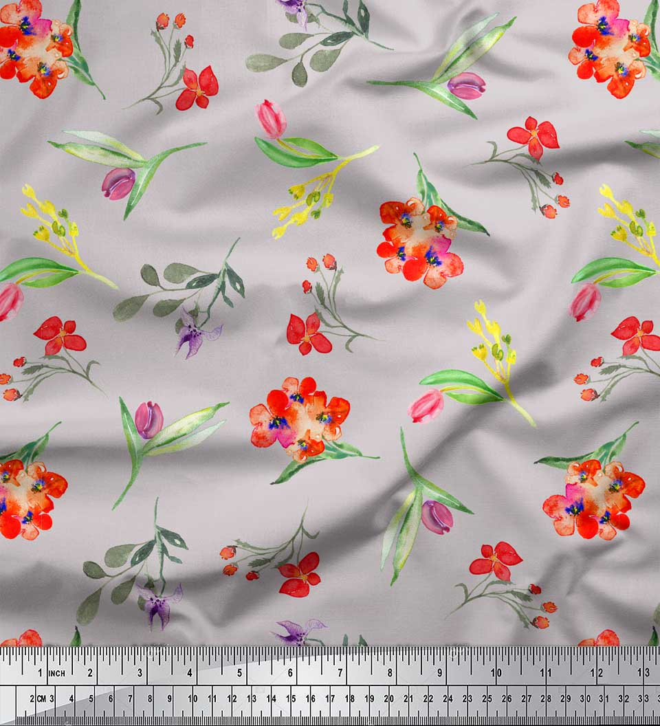Soimoi-Gray-Cotton-Poplin-Fabric-Leaves-amp-Tulip-Floral-Printed-Fabric-4ks thumbnail 2