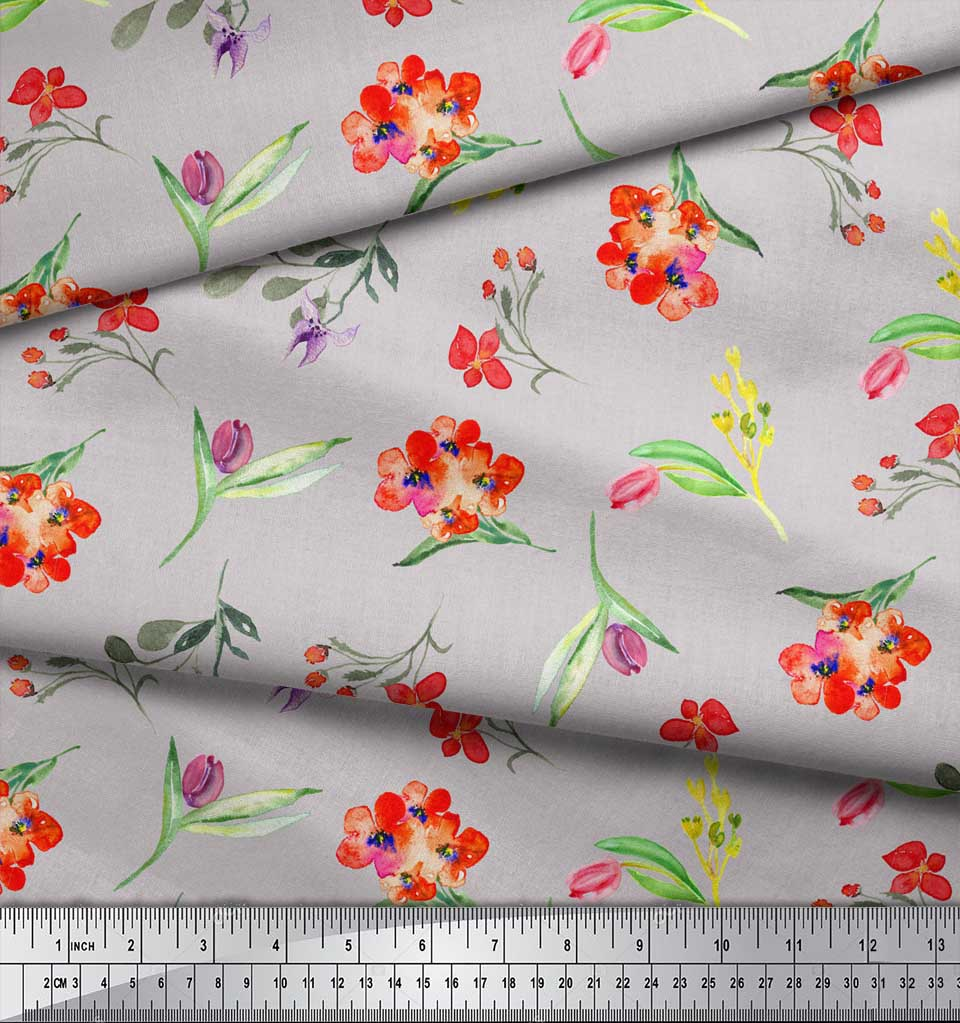 Soimoi-Gray-Cotton-Poplin-Fabric-Leaves-amp-Tulip-Floral-Printed-Fabric-4ks thumbnail 4