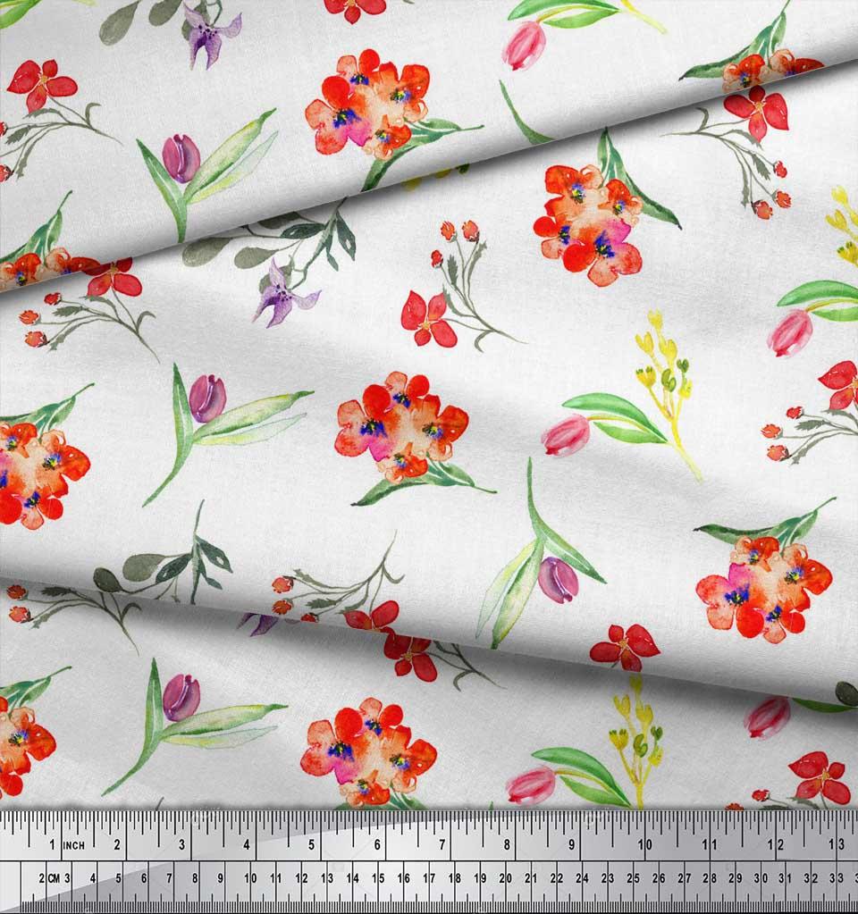 Soimoi-White-Cotton-Poplin-Fabric-Leaves-amp-Tulip-Floral-Print-Fabric-yI1 thumbnail 3