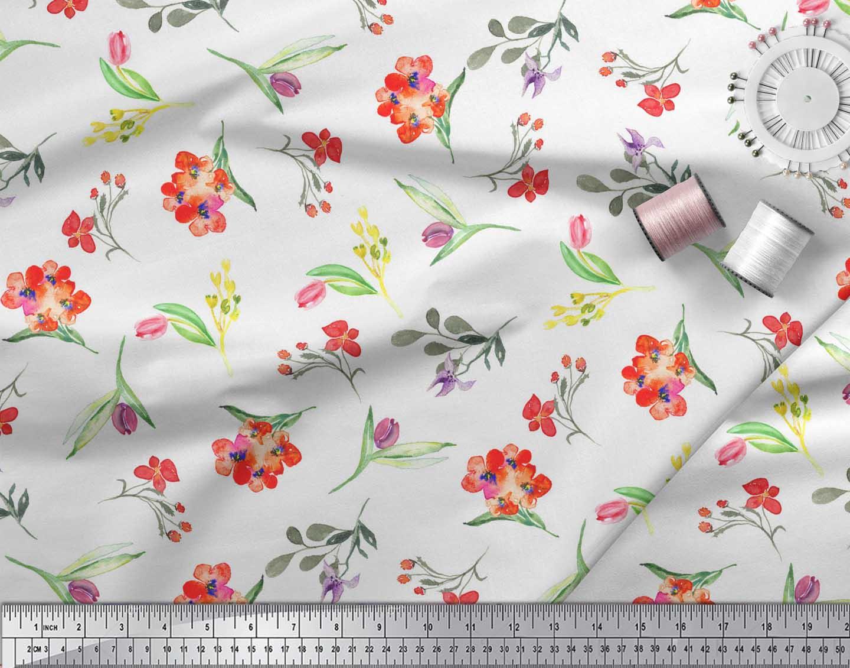 Soimoi-White-Cotton-Poplin-Fabric-Leaves-amp-Tulip-Floral-Print-Fabric-yI1 thumbnail 4