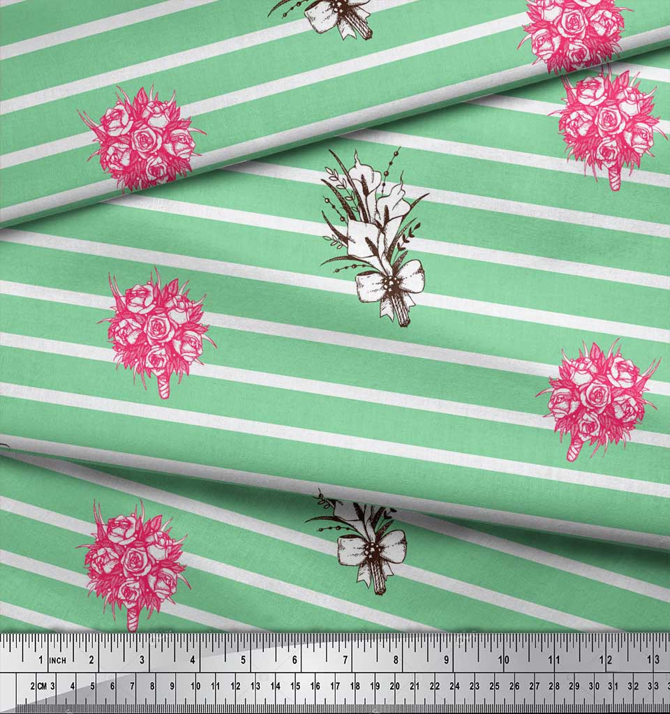 Soimoi-Green-Cotton-Poplin-Fabric-Stripe-amp-Rose-Bouquet-Floral-Decor-zIo thumbnail 3