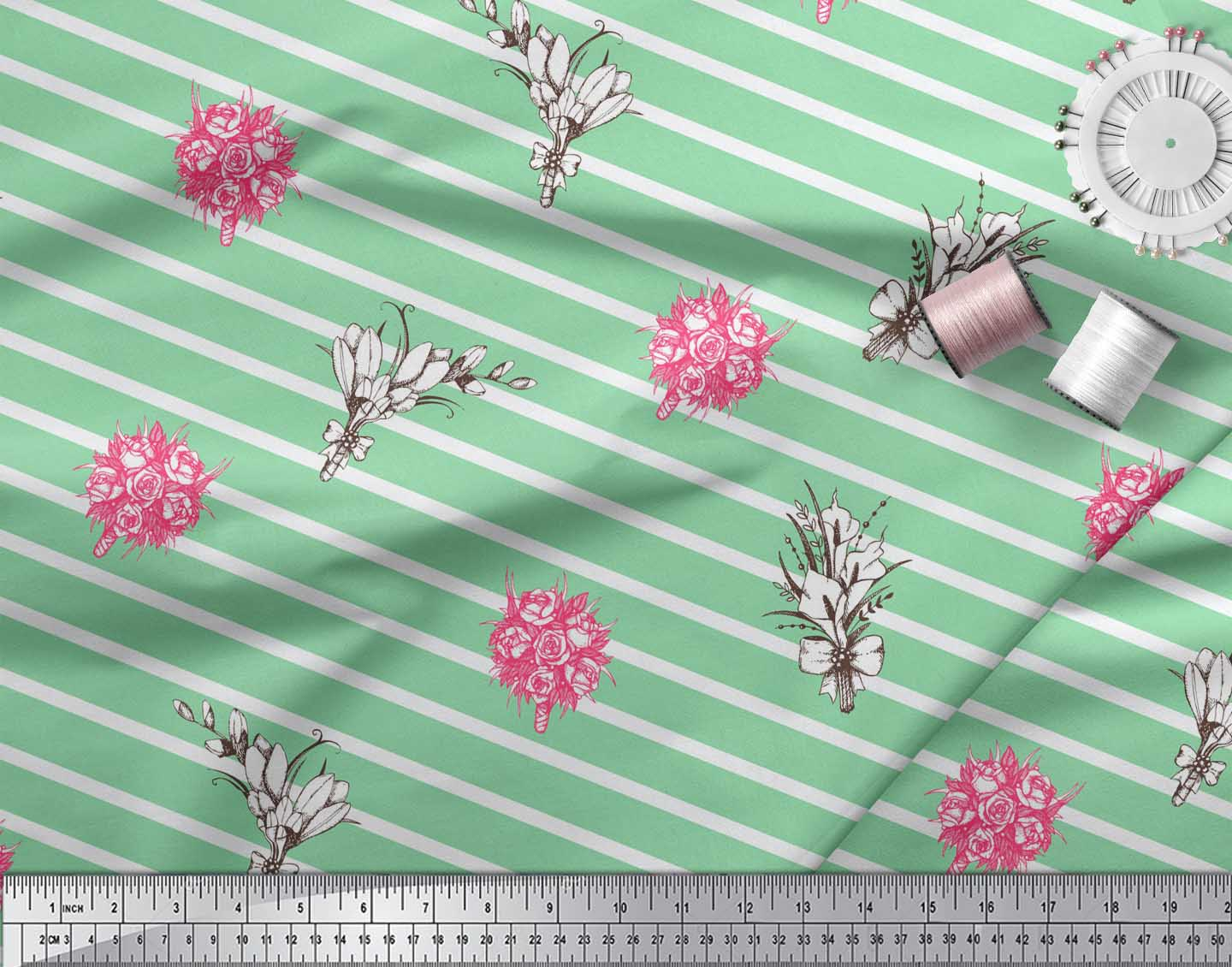 Soimoi-Green-Cotton-Poplin-Fabric-Stripe-amp-Rose-Bouquet-Floral-Decor-zIo thumbnail 4