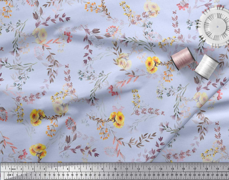 Soimoi-Blue-Cotton-Poplin-Fabric-Leaf-Floral-Printed-Fabric-1-metre-Ueo thumbnail 4