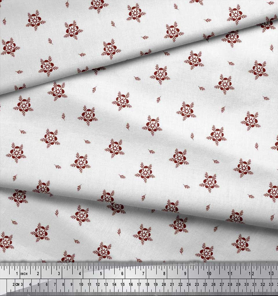 Soimoi-Red-Cotton-Poplin-Fabric-Artistic-Floral-Print-Fabric-by-l0A thumbnail 4