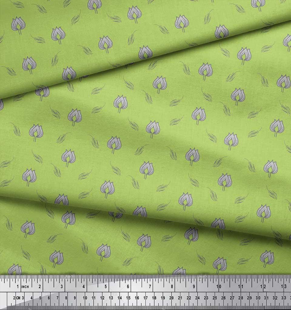 Soimoi-Green-Cotton-Poplin-Fabric-Leaves-amp-Lotus-Floral-Fabric-Prints-aAn thumbnail 3