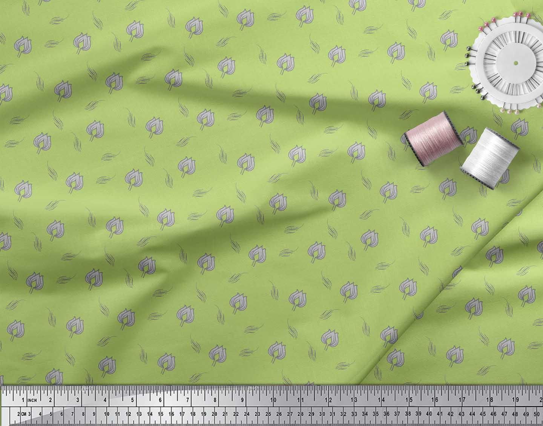 Soimoi-Green-Cotton-Poplin-Fabric-Leaves-amp-Lotus-Floral-Fabric-Prints-aAn thumbnail 4