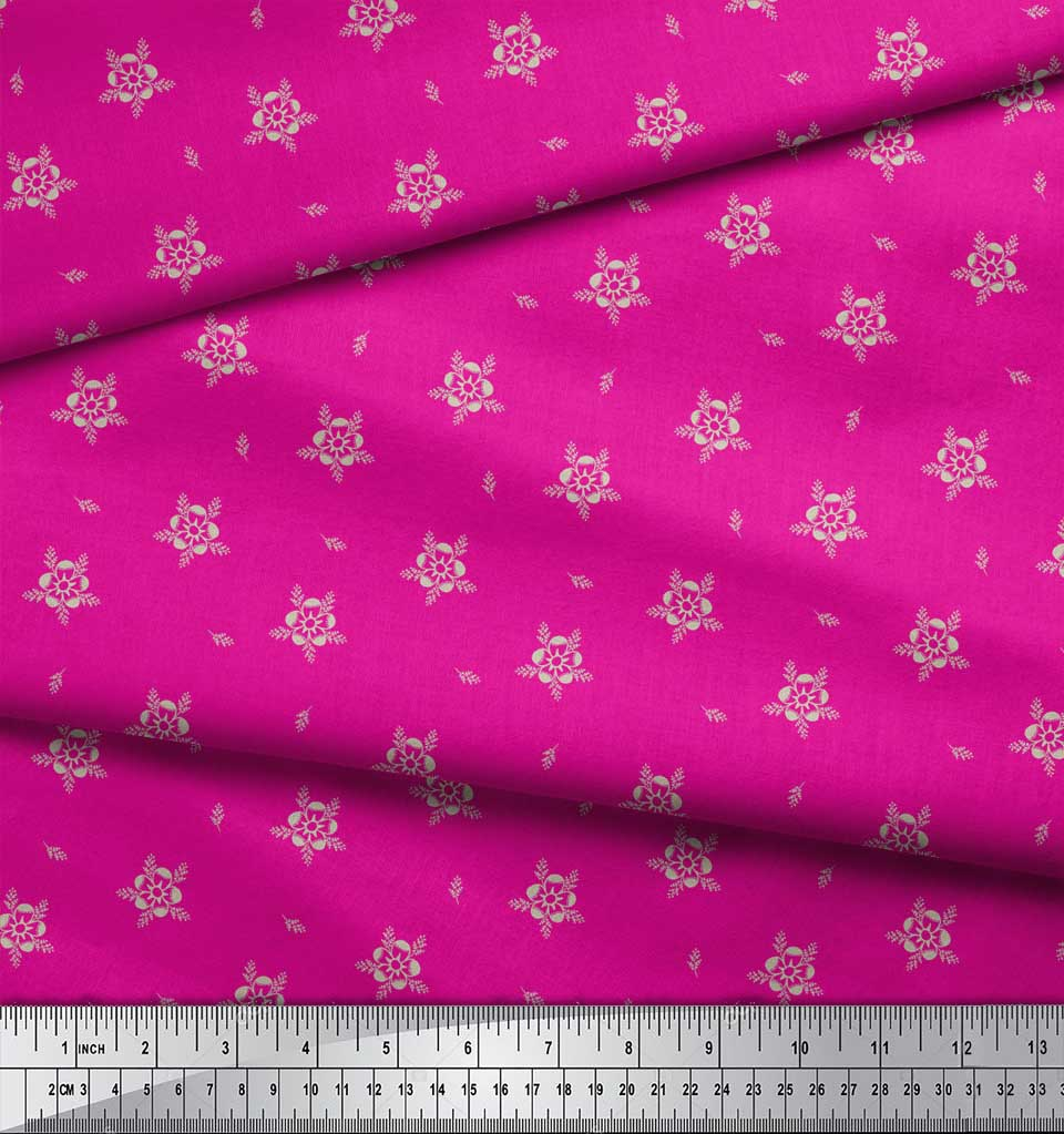 Soimoi-Pink-Cotton-Poplin-Fabric-Artistic-Floral-Fabric-Prints-By-DCh thumbnail 3