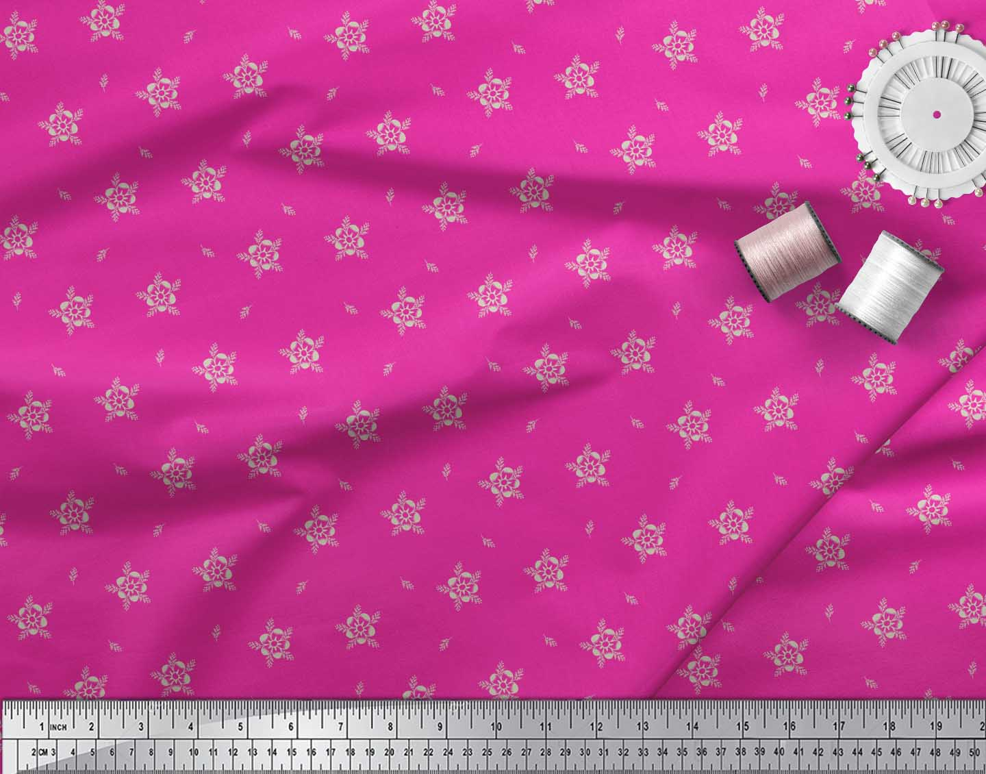 Soimoi-Pink-Cotton-Poplin-Fabric-Artistic-Floral-Fabric-Prints-By-DCh thumbnail 4