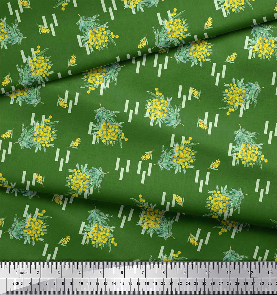 Soimoi-Green-Cotton-Poplin-Fabric-Leaves-amp-Floral-Print-Sewing-Fabric-QW7 thumbnail 3