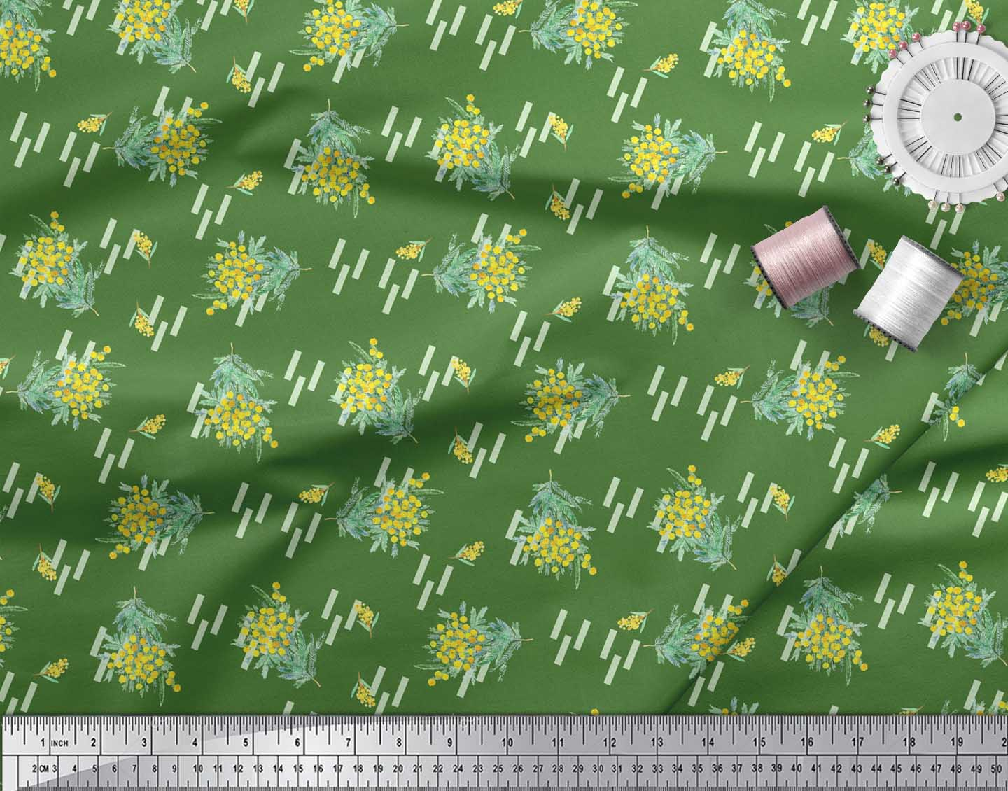 Soimoi-Green-Cotton-Poplin-Fabric-Leaves-amp-Floral-Print-Sewing-Fabric-QW7 thumbnail 4