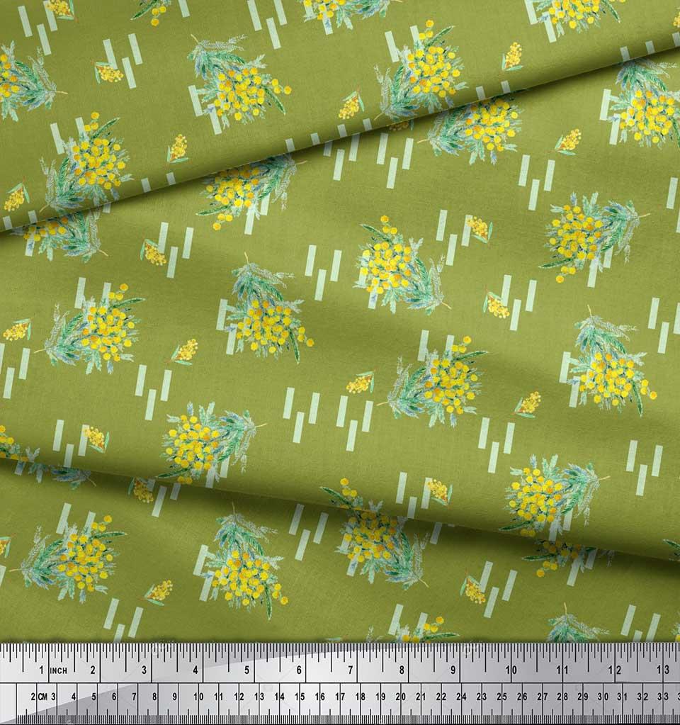 Soimoi-Green-Cotton-Poplin-Fabric-Leaves-amp-Floral-Printed-Fabric-jGH thumbnail 3