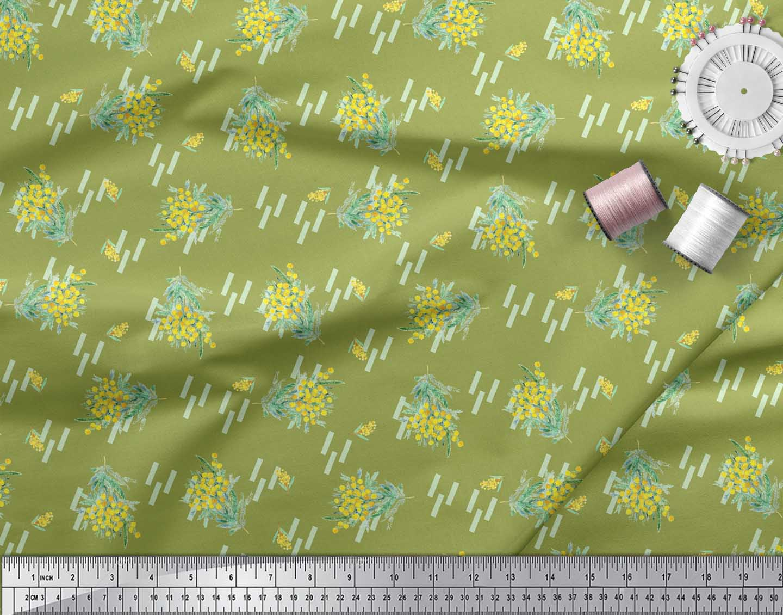 Soimoi-Green-Cotton-Poplin-Fabric-Leaves-amp-Floral-Printed-Fabric-jGH thumbnail 4