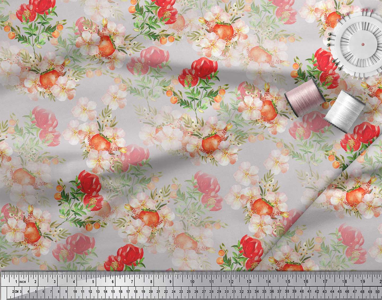 Soimoi-Gray-Cotton-Poplin-Fabric-Tomato-amp-Peony-Floral-Fabric-Prints-5h4 thumbnail 3