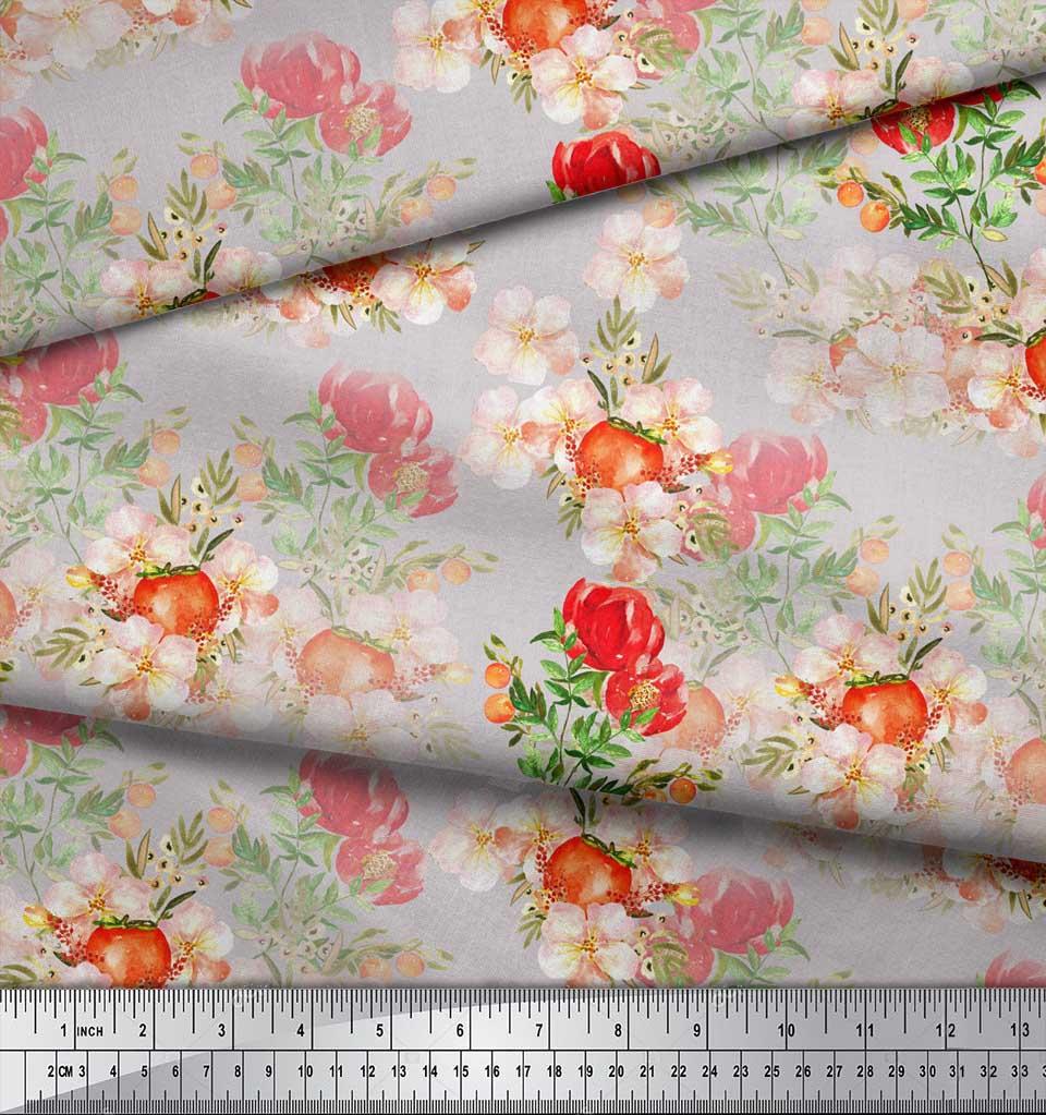 Soimoi-Gray-Cotton-Poplin-Fabric-Tomato-amp-Peony-Floral-Fabric-Prints-5h4 thumbnail 4