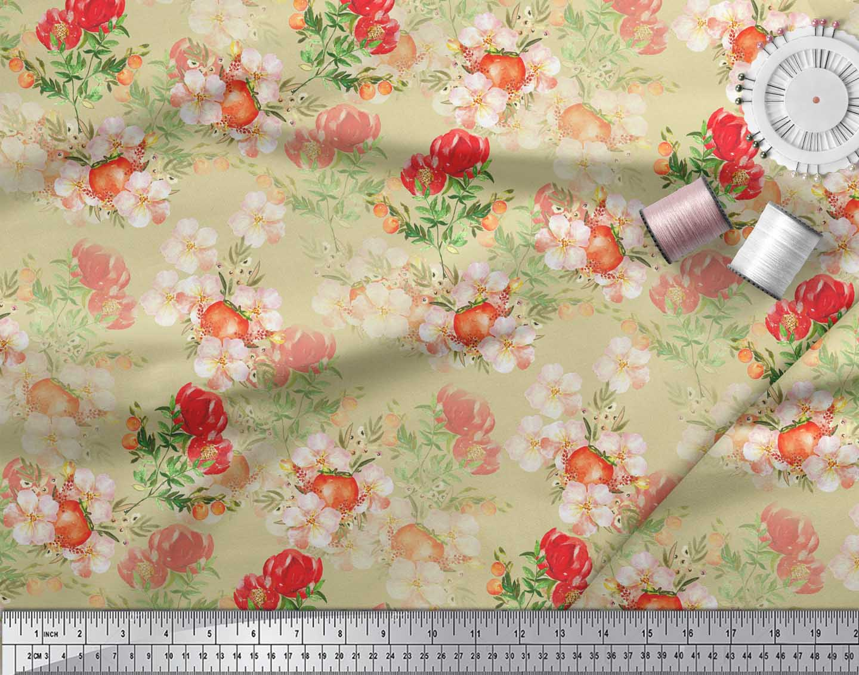 Soimoi-Beige-Cotton-Poplin-Fabric-Tomato-amp-Peony-Floral-Print-Fabric-aWi thumbnail 3