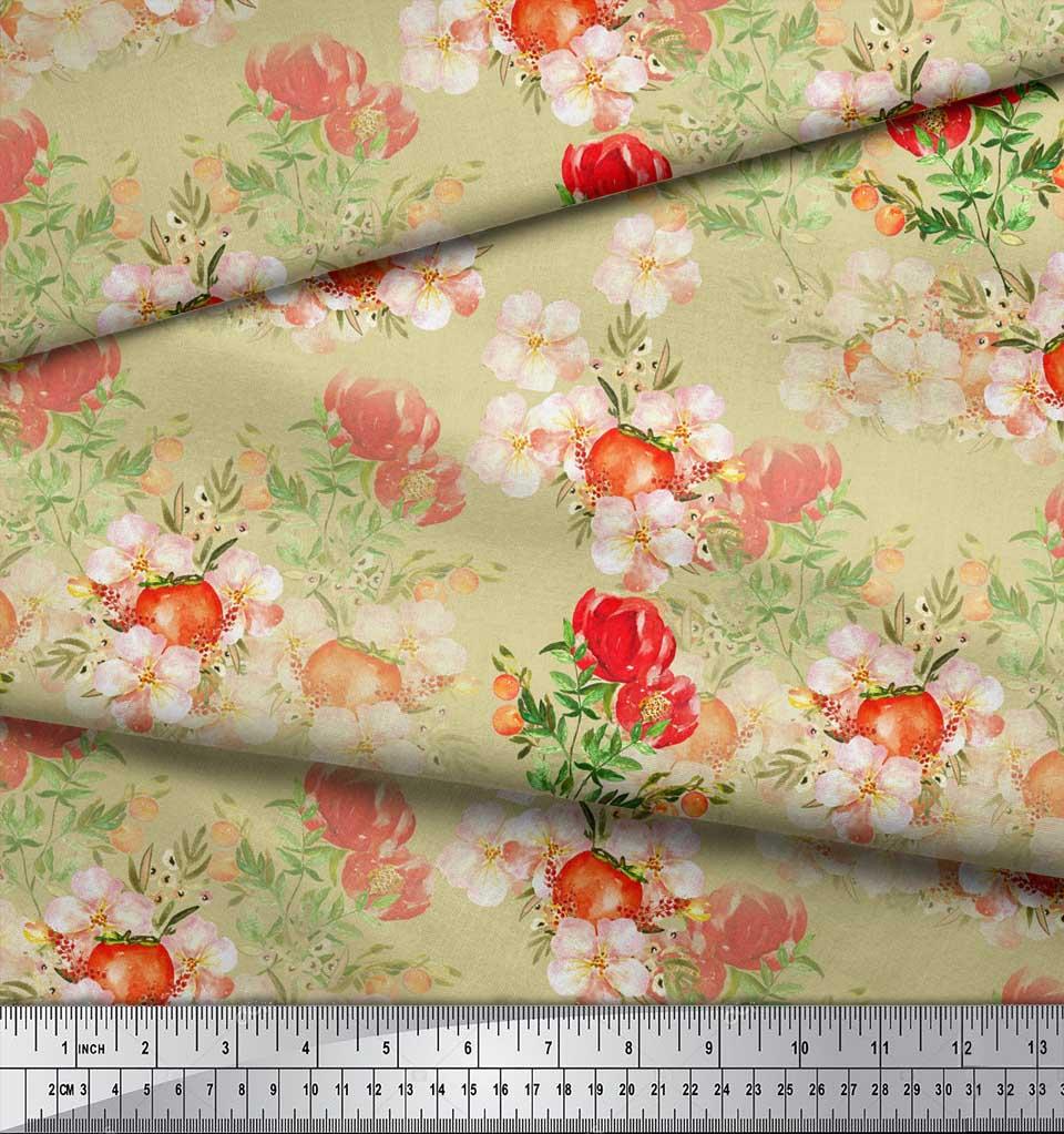 Soimoi-Beige-Cotton-Poplin-Fabric-Tomato-amp-Peony-Floral-Print-Fabric-aWi thumbnail 4