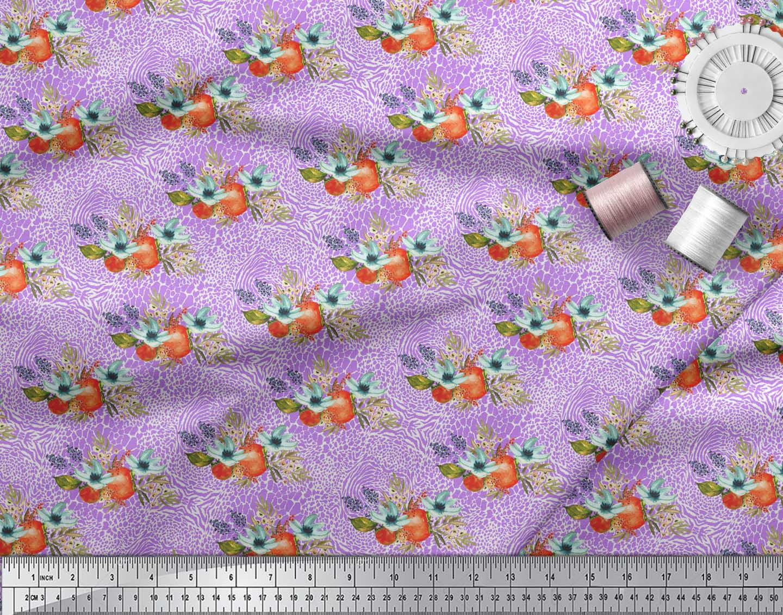Soimoi-Purple-Cotton-Poplin-Fabric-Tomato-Leaves-amp-Flower-Floral-7N6 thumbnail 3