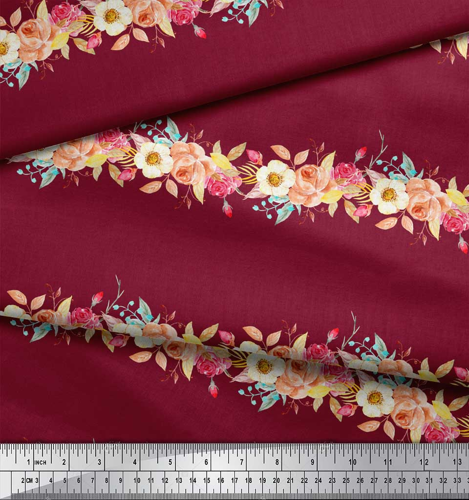 Soimoi-Red-Cotton-Poplin-Fabric-Leaves-amp-Rose-Floral-Print-Fabric-oht thumbnail 3