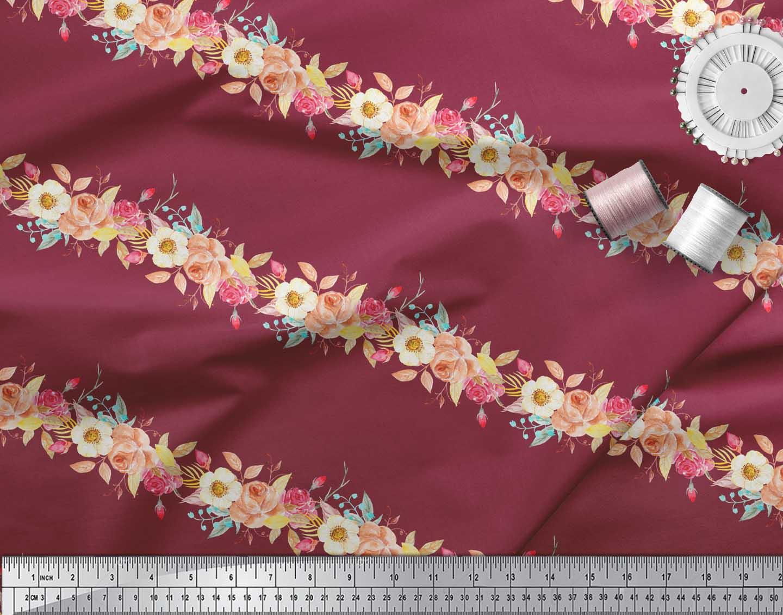 Soimoi-Red-Cotton-Poplin-Fabric-Leaves-amp-Rose-Floral-Print-Fabric-oht thumbnail 4