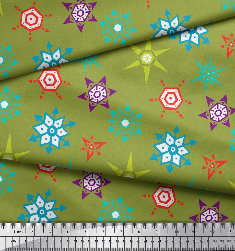 Soimoi-Green-Cotton-Poplin-Fabric-Snow-Flakes-Floral-Print-Fabric-0PF thumbnail 3