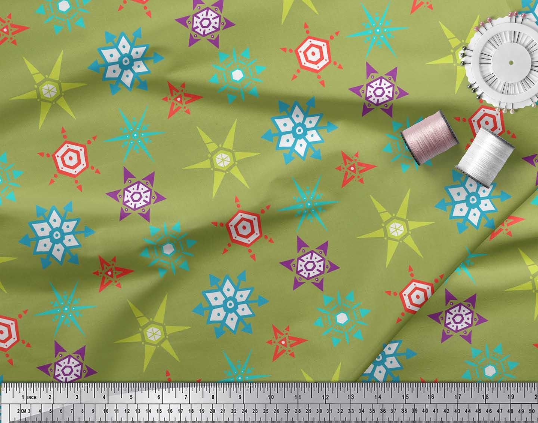 Soimoi-Green-Cotton-Poplin-Fabric-Snow-Flakes-Floral-Print-Fabric-0PF thumbnail 4