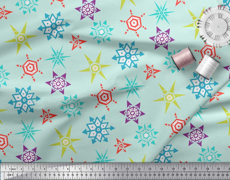 Soimoi-Green-Cotton-Poplin-Fabric-Snow-Flakes-Floral-Print-Fabric-NlG thumbnail 3