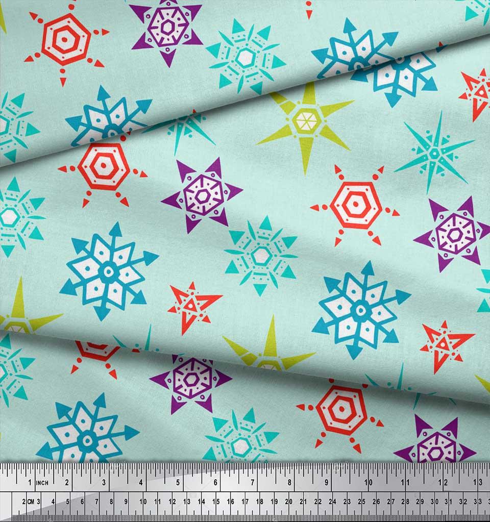 Soimoi-Green-Cotton-Poplin-Fabric-Snow-Flakes-Floral-Print-Fabric-NlG thumbnail 4