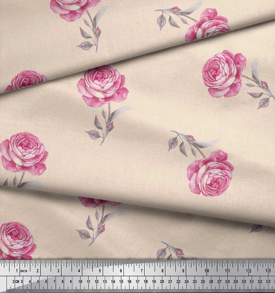 Soimoi-White-Cotton-Poplin-Fabric-Grandiflora-Roses-Floral-Print-mPw thumbnail 3