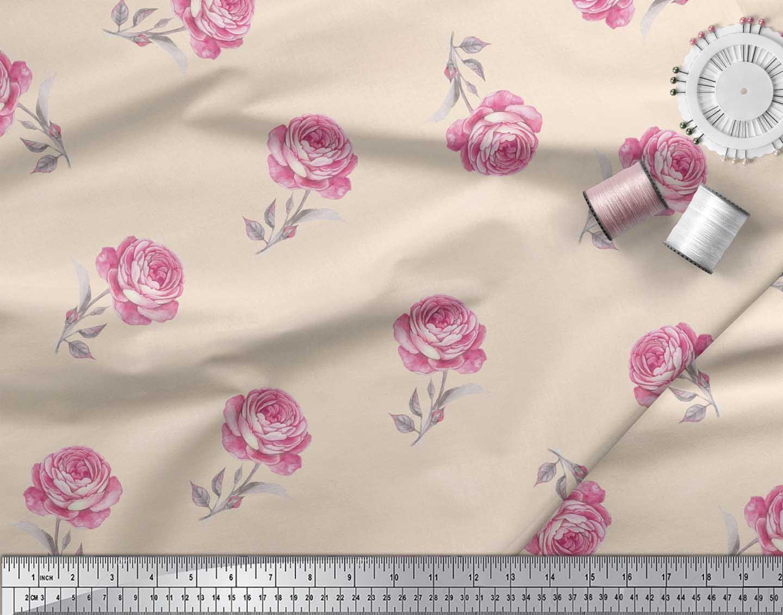 Soimoi-White-Cotton-Poplin-Fabric-Grandiflora-Roses-Floral-Print-mPw thumbnail 4