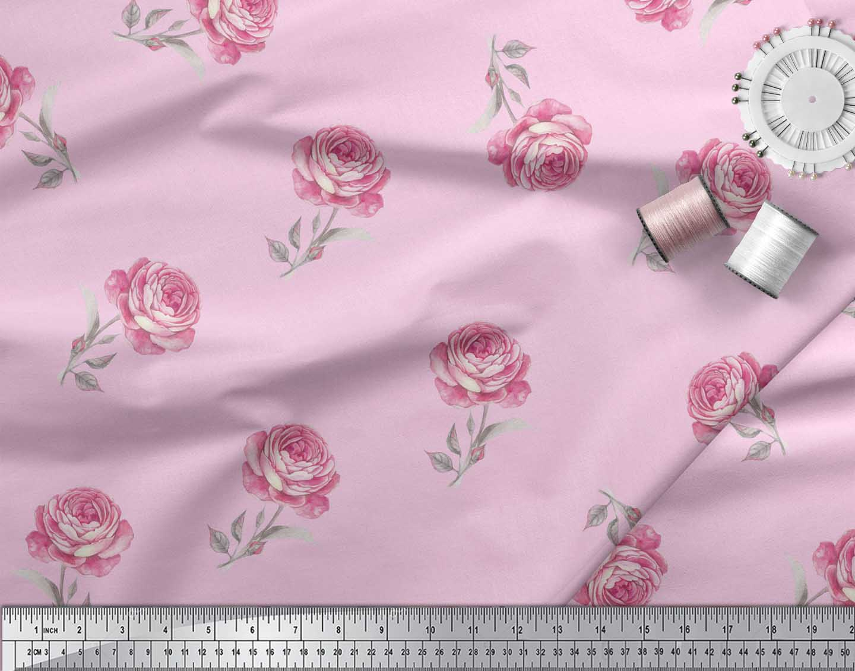 Soimoi-Pink-Cotton-Poplin-Fabric-Grandiflora-Roses-Floral-Print-YsF thumbnail 3