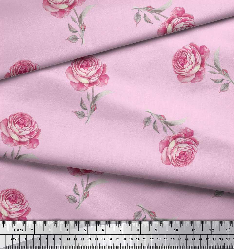 Soimoi-Pink-Cotton-Poplin-Fabric-Grandiflora-Roses-Floral-Print-YsF thumbnail 4