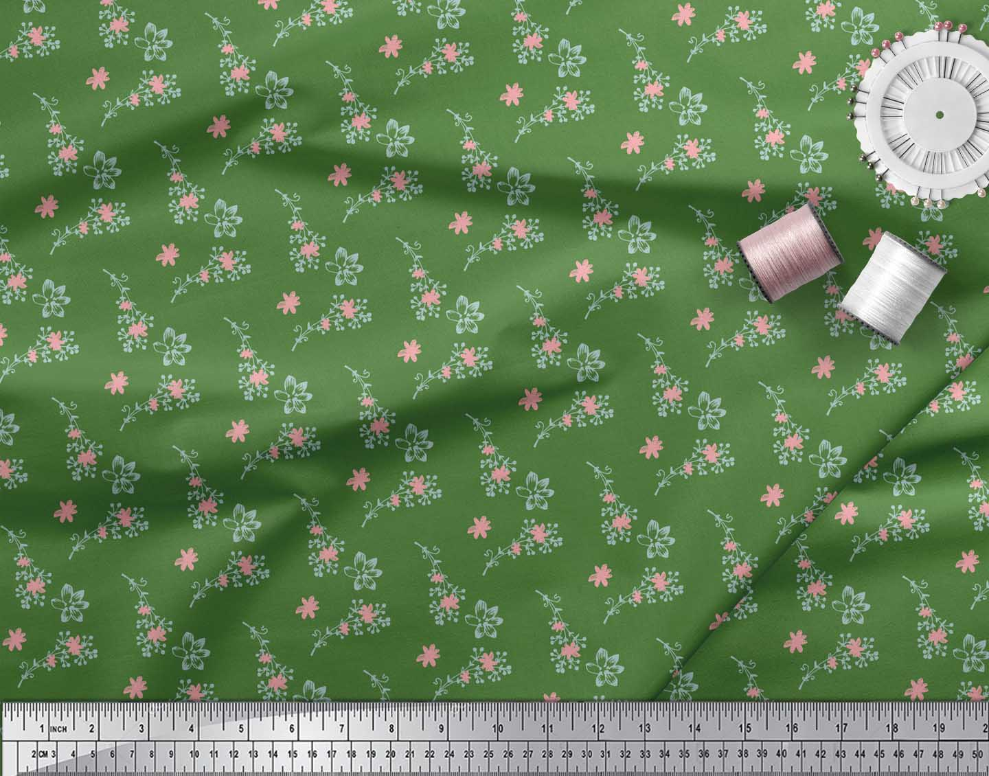 Soimoi-Green-Cotton-Poplin-Fabric-Flower-Bud-Floral-Printed-Craft-ZQw thumbnail 4