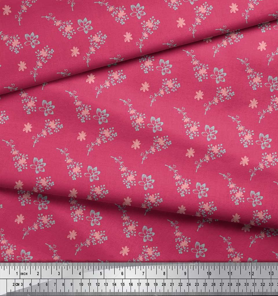 Soimoi-Pink-Cotton-Poplin-Fabric-Flower-Bud-Floral-Decor-Fabric-hVG thumbnail 3