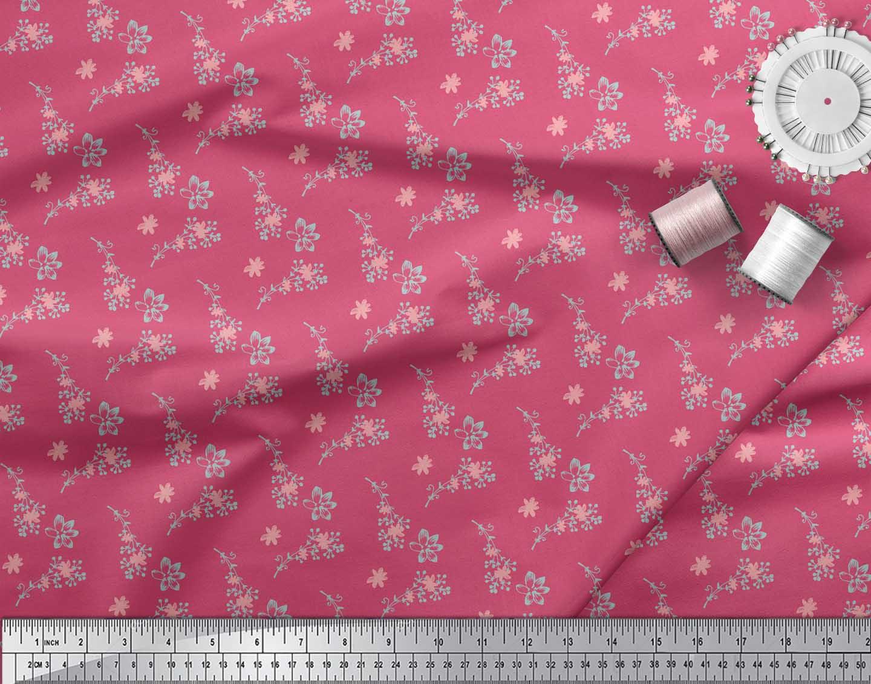 Soimoi-Pink-Cotton-Poplin-Fabric-Flower-Bud-Floral-Decor-Fabric-hVG thumbnail 4