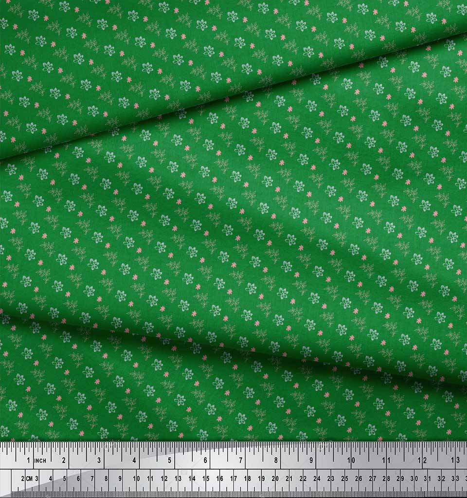 Soimoi-Green-Cotton-Poplin-Fabric-Leaf-Floral-Printed-Craft-Fabric-NWE thumbnail 3