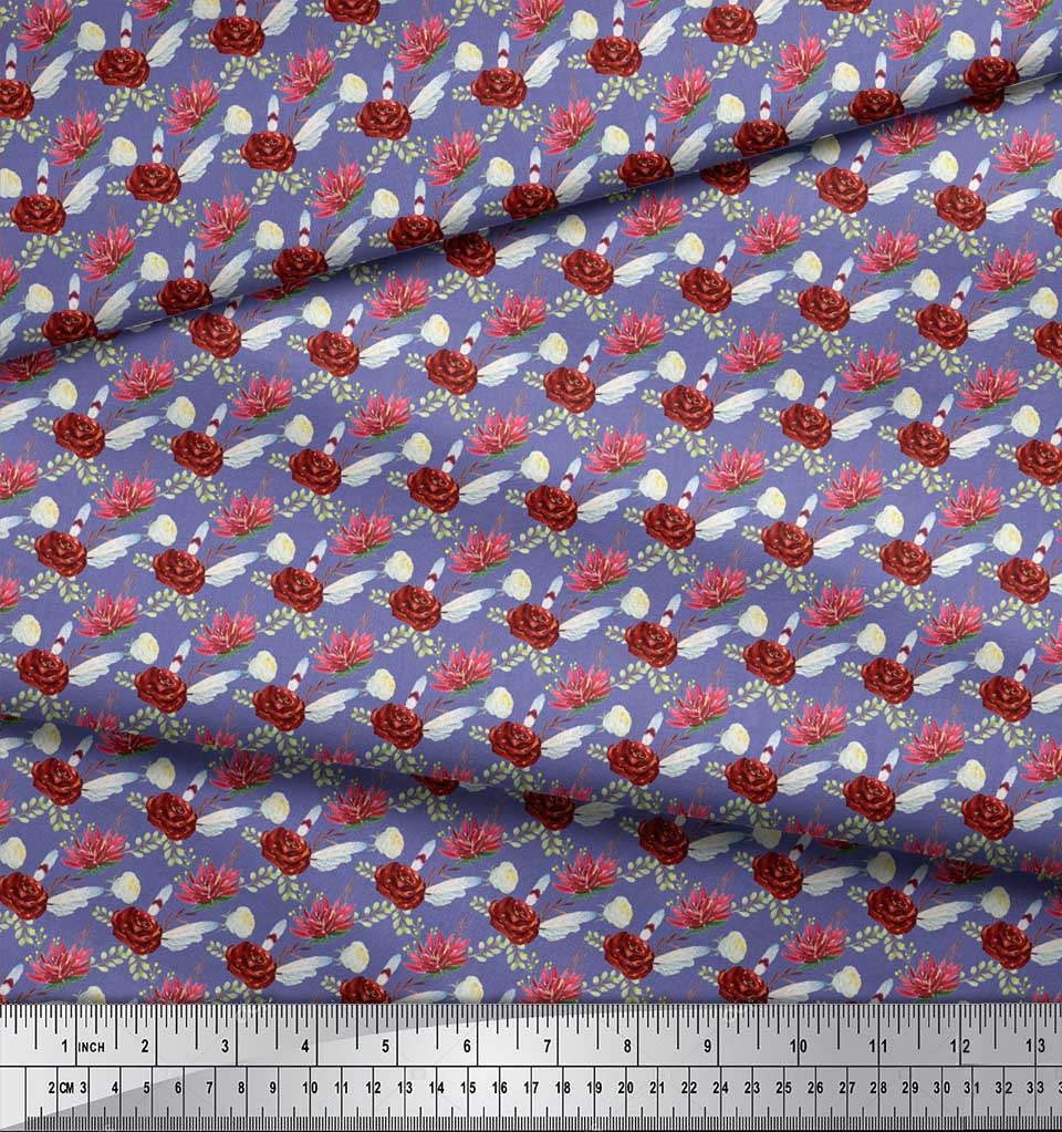 Soimoi-Purple-Cotton-Poplin-Fabric-Leaves-amp-Camellias-Floral-Print-dK9 thumbnail 4
