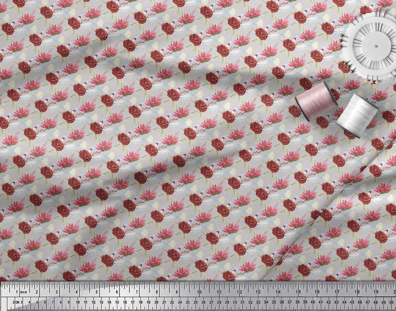 Soimoi-Gray-Cotton-Poplin-Fabric-Leaves-amp-Camellias-Floral-Print-ubI thumbnail 3