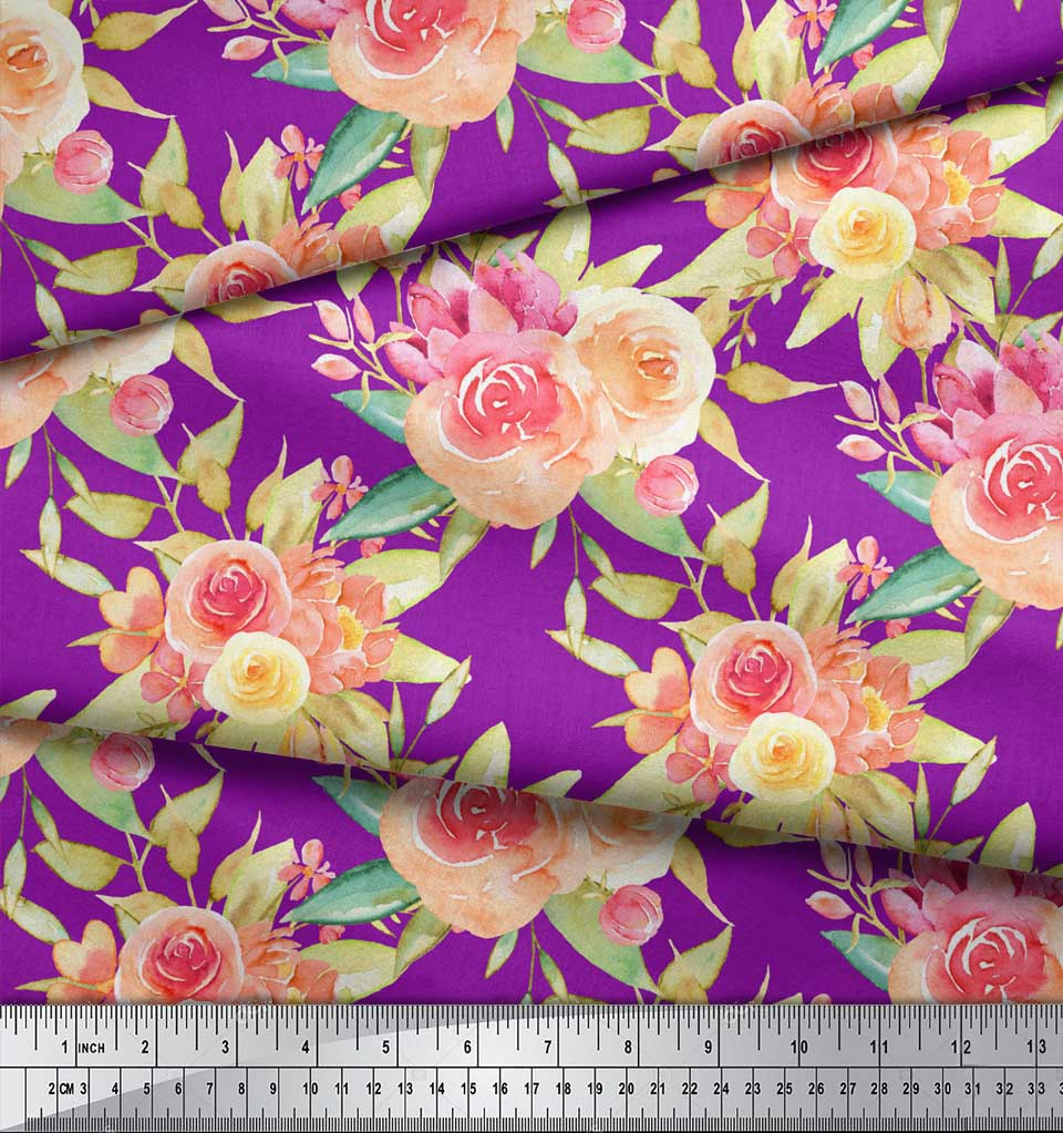 Soimoi-Purple-Cotton-Poplin-Fabric-Leaves-amp-Ranunculus-Floral-Print-Eyd thumbnail 3