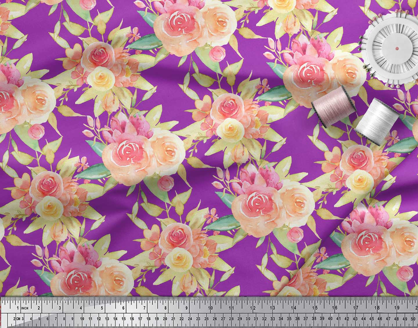 Soimoi-Purple-Cotton-Poplin-Fabric-Leaves-amp-Ranunculus-Floral-Print-Eyd thumbnail 4