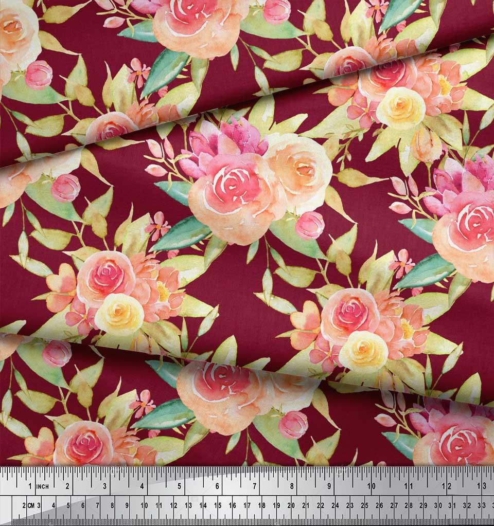 Soimoi-Red-Cotton-Poplin-Fabric-Leaves-amp-Ranunculus-Floral-Print-rEW thumbnail 3
