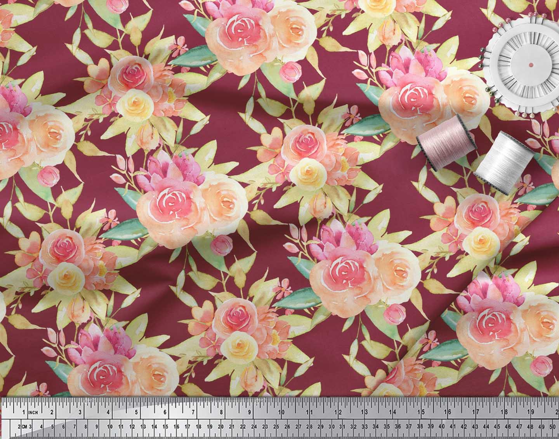 Soimoi-Red-Cotton-Poplin-Fabric-Leaves-amp-Ranunculus-Floral-Print-rEW thumbnail 4