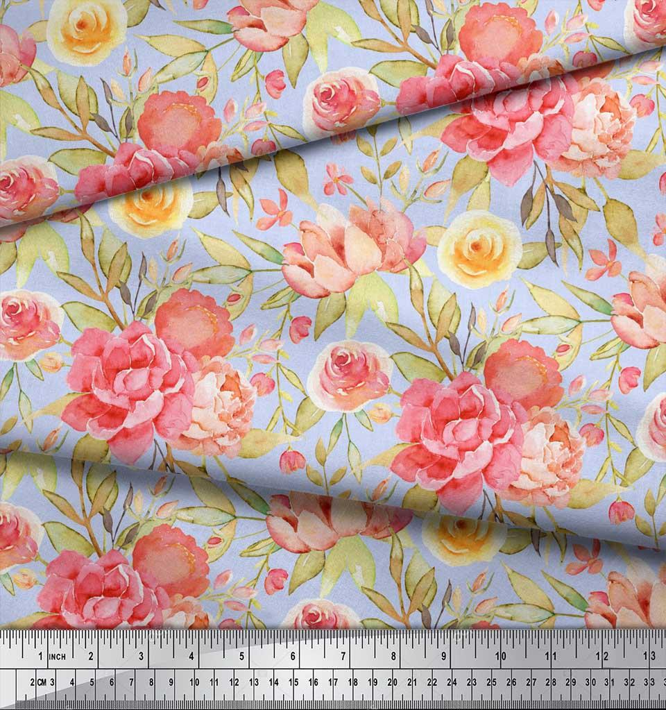 Soimoi-Blue-Cotton-Poplin-Fabric-Leaves-amp-Peony-Floral-Print-Fabric-nuP thumbnail 3