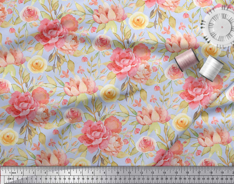 Soimoi-Blue-Cotton-Poplin-Fabric-Leaves-amp-Peony-Floral-Print-Fabric-nuP thumbnail 4