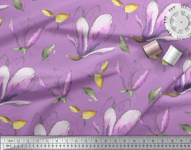 Soimoi-Purple-Cotton-Poplin-Fabric-Leaves-amp-Magnolia-Floral-Fabric-E2V thumbnail 3